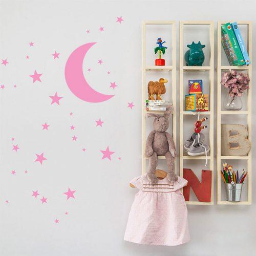 adesivo decorativo de parede com estrelas e lua