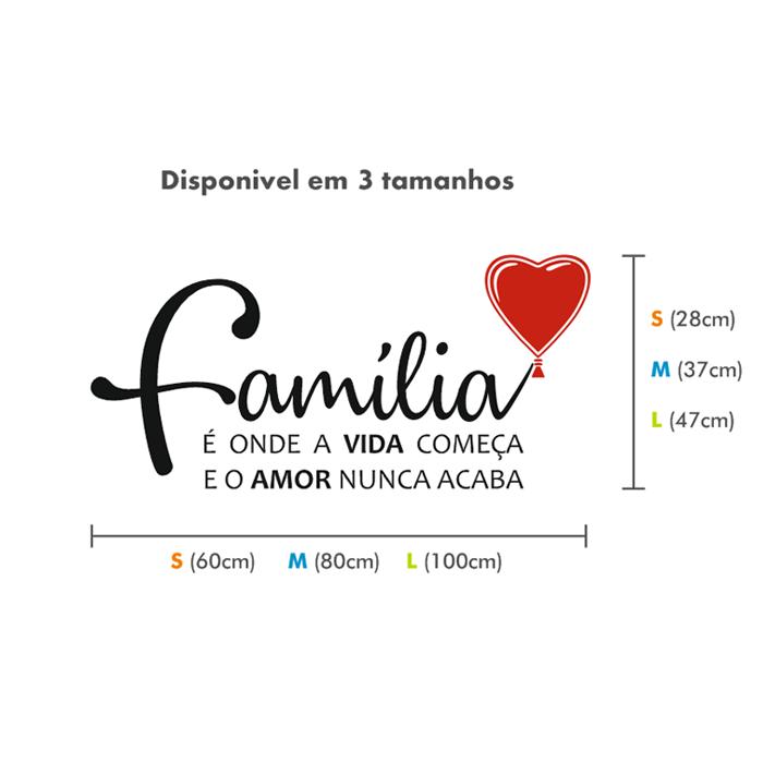 Frase Em Vinil Decorativo De Parede Familia é Onde Começa A Vida