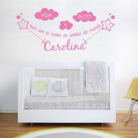 adesivo decorativo de parede infantil com nome personalizado